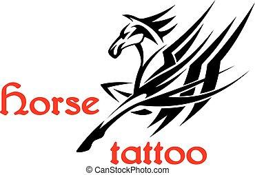 decoratief, paarde, van een stam, vleugels, pegasus, of