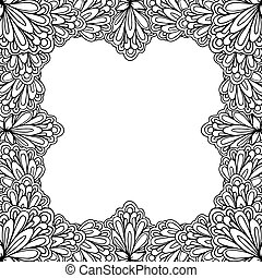 decoratief, pagina, kleuren, square., ruimte vensterraam, groet, tekst, boek, mal, floral, cirkel, of, kaart