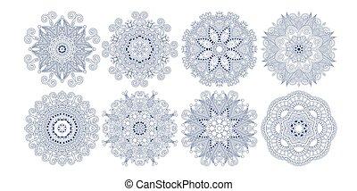decoratief, paisley, set, motieven, bloem, ontwerp, ethnische , cirkel