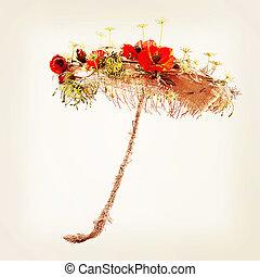 decoratief, paraplu, matten, burlap, kunstmatig, flowers.