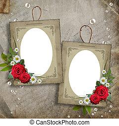 decoratief, parels, frame, bloemen, oud
