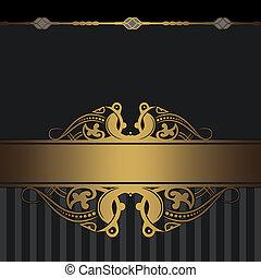 decoratief, patterns., achtergrond, goud