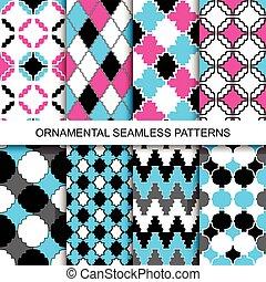 decoratief, patterns., seamless, kleurrijke