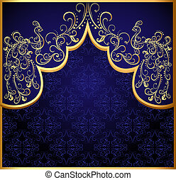decoratief, pauw, gold(en), frame, achtergrond