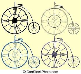 decoratief, penny-farthing, vector, fiets, klok