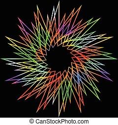 decoratief, regenboog, stralen, ster, levendig, contrasteren, vrijstaand, versiering, hoog, achtergrond, black , vorm, scherp, lijn