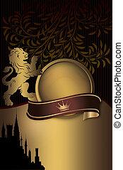 decoratief, ribbon., frame, achtergrond, ouderwetse