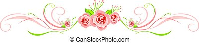 decoratief, roze, groet, rozen, ontwerp, grens, kaart