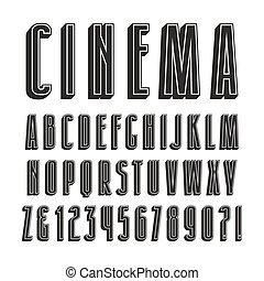 decoratief, sanserif, lettertype, met, effect, van, volume