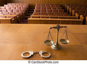 decoratief, schalen van gerechtigheid, en, handcuffs