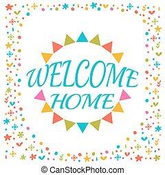 decoratief, schattig, welkom, elements., kleurrijke, lettering, tekst, postcard., groet, ontwerp, thuis, card.