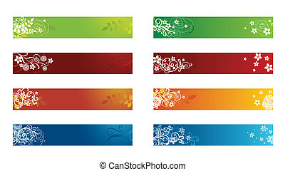 decoratief, seizoenen, grens, floral