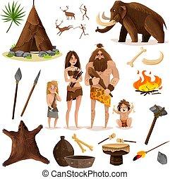 decoratief, set, cavemen, iconen
