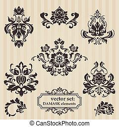 decoratief, set, damast, -, jouw, uitnodiging, vector, begroetenen, illustraties, ontwerp