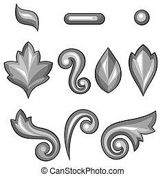 decoratief, set, elements., floral, barok, zilver