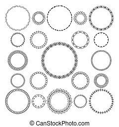 decoratief, set, frame., frame, motieven, vector, ontwerp, black , geometrisch, om het rondschrijven