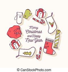 decoratief, set, klem, doodle, illustratie, hand, vector, getrokken, vakantie, stickers., kerstmis, art.