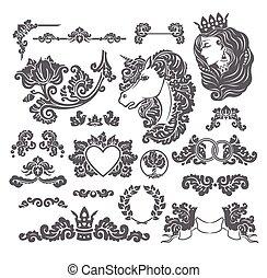 decoratief, set, middeleeuws, trouwfeest
