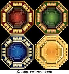decoratief, set, (vector), achthoekig, elegant, lijstjes