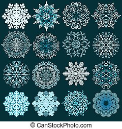 decoratief, set., vector, snowflakes
