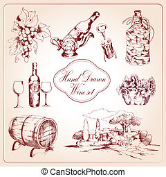 decoratief, set, wijntje, iconen
