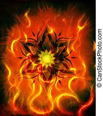 decoratief, sinaasappel, kleur, abstract, vuur, zwarte achtergrond, vlam, oosters, mandala, rood