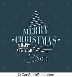 decoratief, ster, snowflakes, gedaantes, pattern., groet, boompje, vector, jaar, nieuw, kerstmis kaart, design.