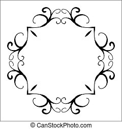 decoratief, stijl, ouderwetse , abstract, black , frame
