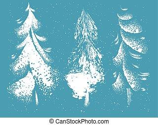 decoratief, stijl, set, grunge, bomen, hand, getrokken, kerstmis