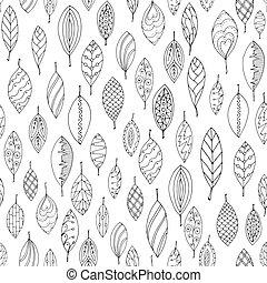 decoratief, stylized, af)knippen, gebruikt, blad, mal, model, masker, seamless, textuur, leaves., herfst, editing., black , gemakkelijk, doodle, witte , style.