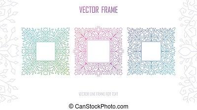 decoratief, -, text., achtergrond, stijl, lijstjes, mono, uitnodiging, kopie, vector, vastgesteld ontwerp, lijn, ruimte, mal, floral, frame, trouwfeest