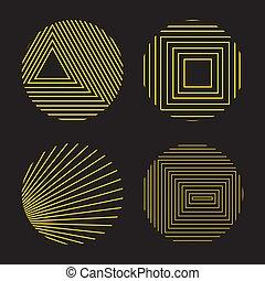 decoratief, transformations., stijl, spirograph, iconen, eenvoudig, vrijstaand, vector, gedaantes, vastgesteld ontwerp, achtergrond, black , geometrisch, communie