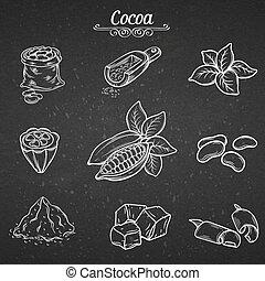 decoratief, trekken, set, hand, cacao, chocolade
