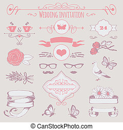 decoratief, trouwfeest, eleme, uitnodiging