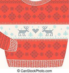 decoratief, trui, -, lelijke , vector, feestje, kerstmis