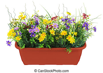 decoratief, tuin, bloempot, vrijstaand, kunstmatig, achtergrond., witte bloemen, samenstelling