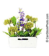 decoratief, tuin, kunstmatig, vaas, bloemen, samenstelling