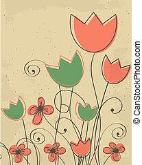 decoratief, tulpen, bloemen, achtergrond