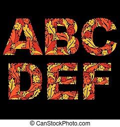 decoratief, typescript, brieven, verfraaide, met, kruiden,...