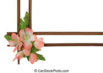 decoratief, van hout vensterraam, vrijstaand, bloemen, achtergrond, verfraaide, witte
