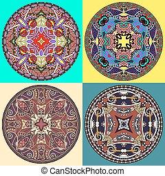 decoratief, vastgesteld ontwerp, mal, schaaltje, cirkel
