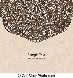 decoratief, vector, oud, rozet, de ruimte van het exemplaar, hand, papier, achtergrond, getrokken, mandala, perkament, ronde