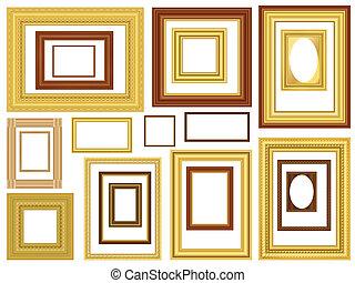 decoratief, vector, schilderijlijsten