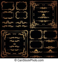 decoratief, vector, set, goud, frame, randjes