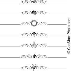 decoratief, vector, set, header