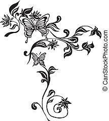 decoratief, vlinder, gemaakt, eps