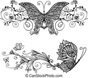 decoratief, vlinder, set