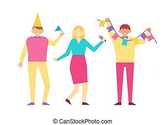 decoratief, vrouw, vlag, verjaardagsfeest, vieren, man