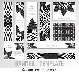 decoratief, web, set, elements., black-white, banners., negen