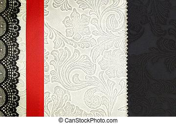 decoratief, weefsel, achtergrond., plakboek, photobook, concept